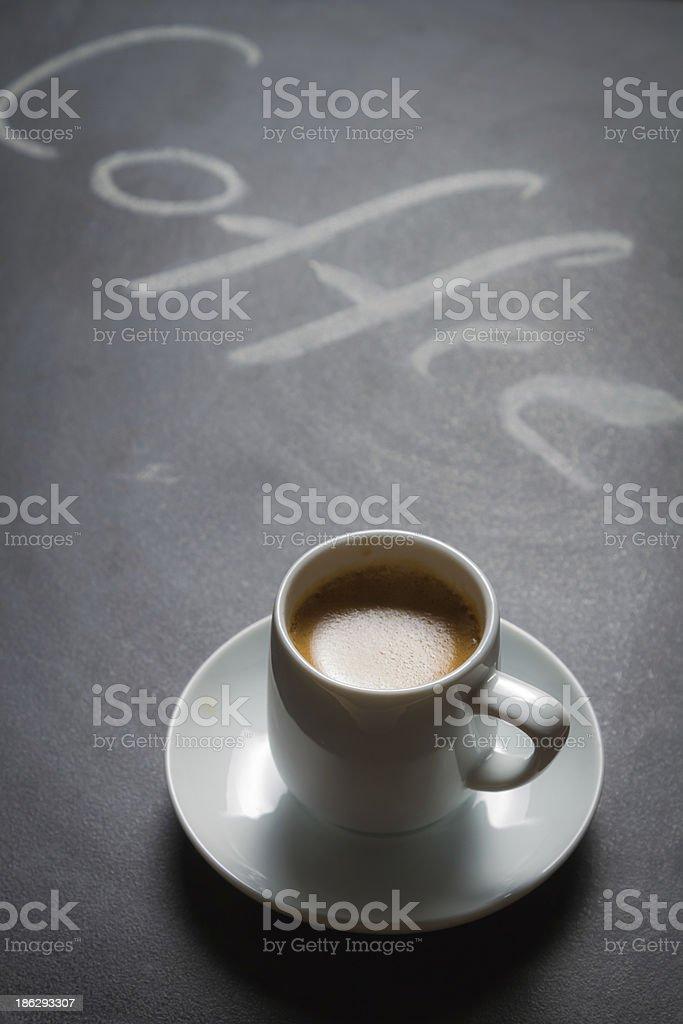 Blacckboard with the words coffee and espresso royalty-free stock photo