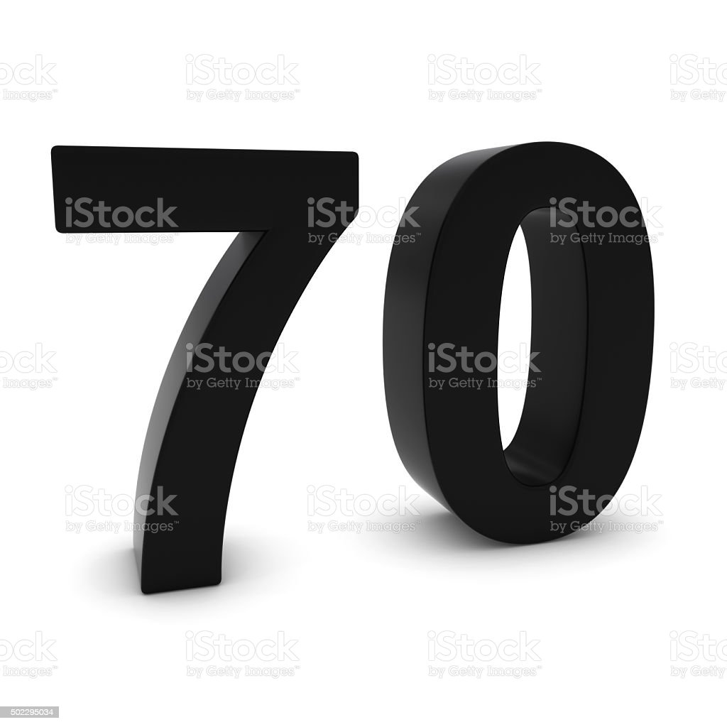 Black 3D Number Seventy Isolated on white with shadows stock photo
