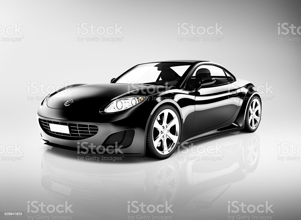 Black 3D Sports Car stock photo