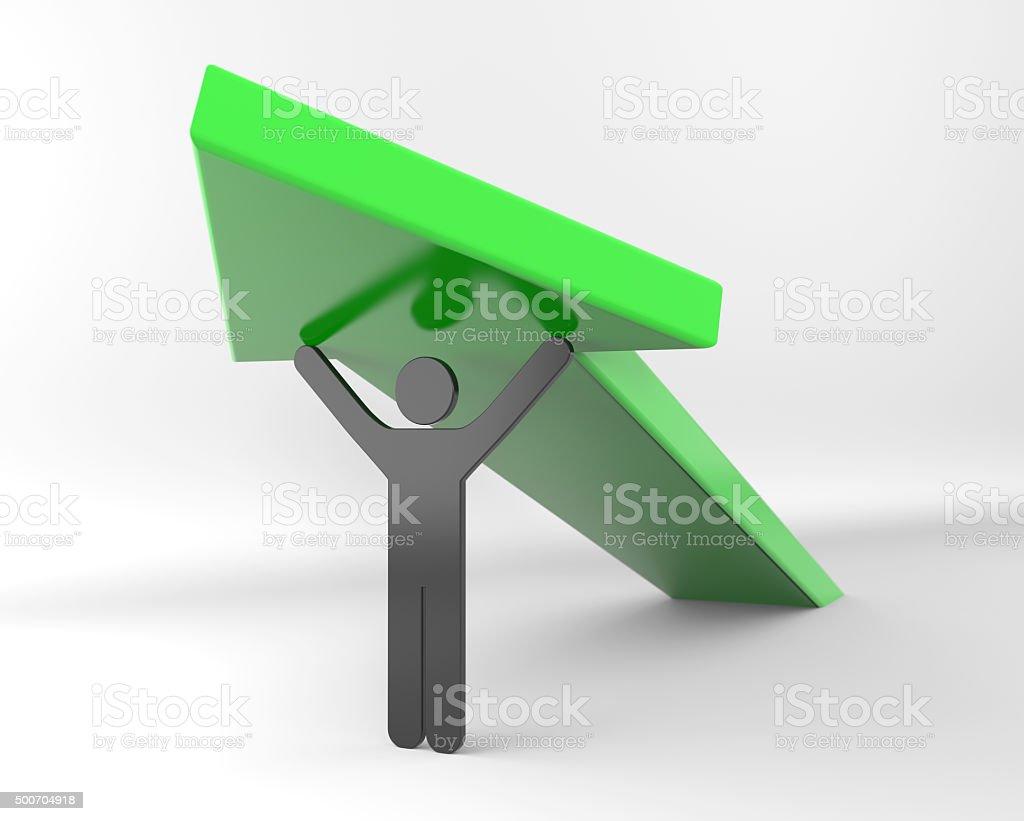 Black 3D stickman lifts arrow stock photo