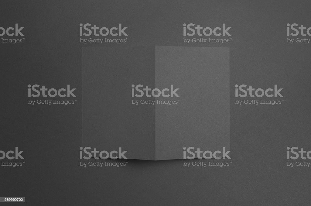 Black A6 Bi-Fold / Half-Fold Brochure Mock-Up stock photo