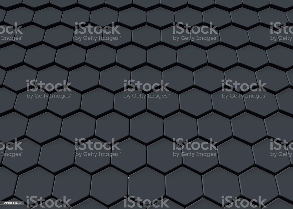 Black abstract hexagonal design background, 3D rendering stock photo