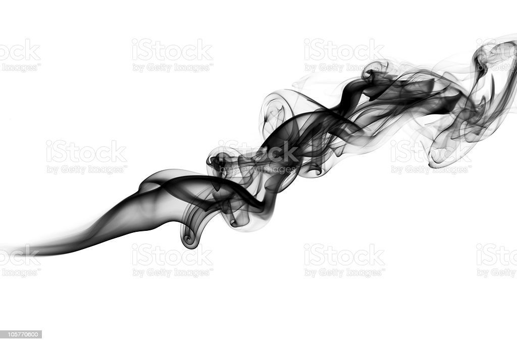 Black Abstract puff of fume on white stock photo