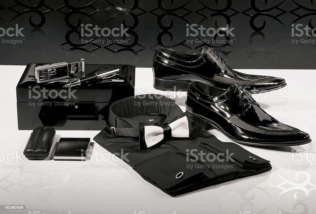Black Accessories for Men stock photo