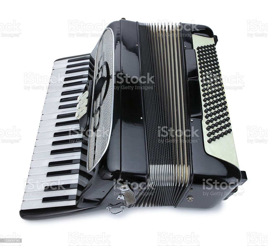 Black Accordian on White with Clipping Path royalty-free stock photo