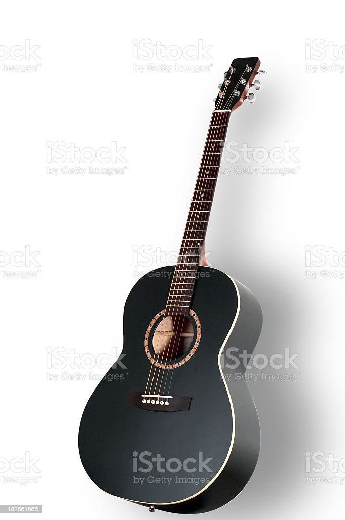 Black acoustic guitar on a white background stock photo