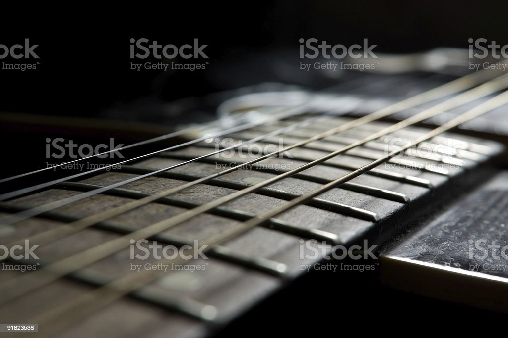 Black acoustic guitar royalty-free stock photo