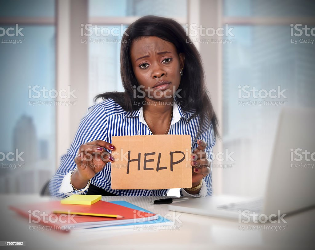 black African American ethnicity tired and frustrated woman working...