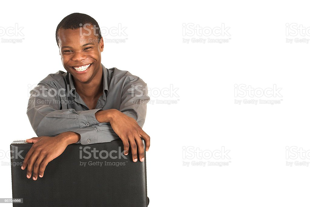 Black African businessman with briefcase stock photo