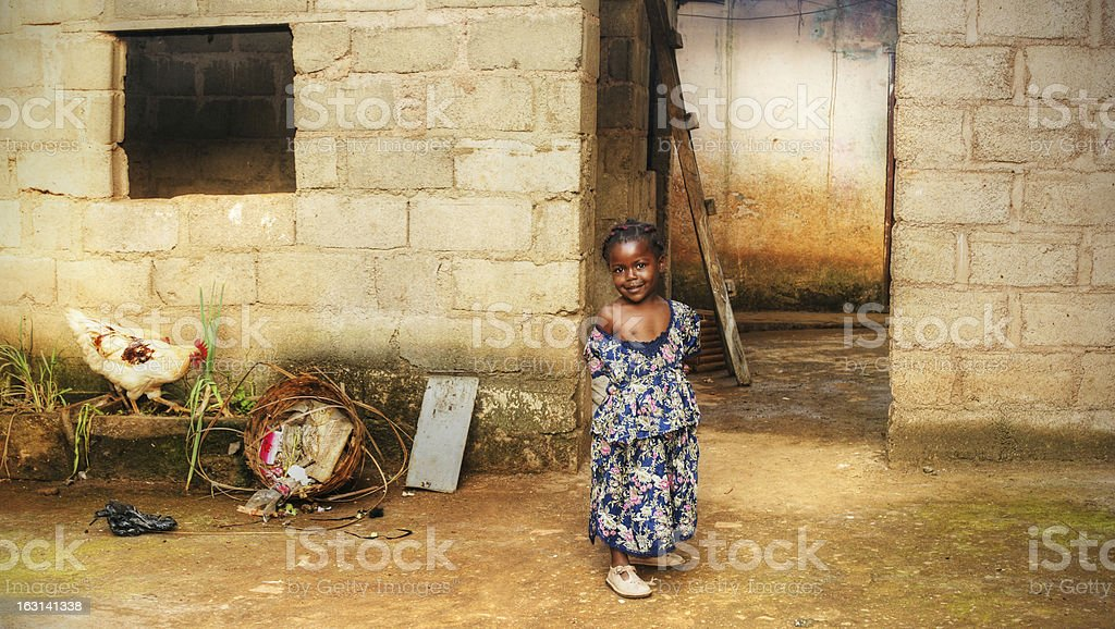 Black African girl at home stock photo