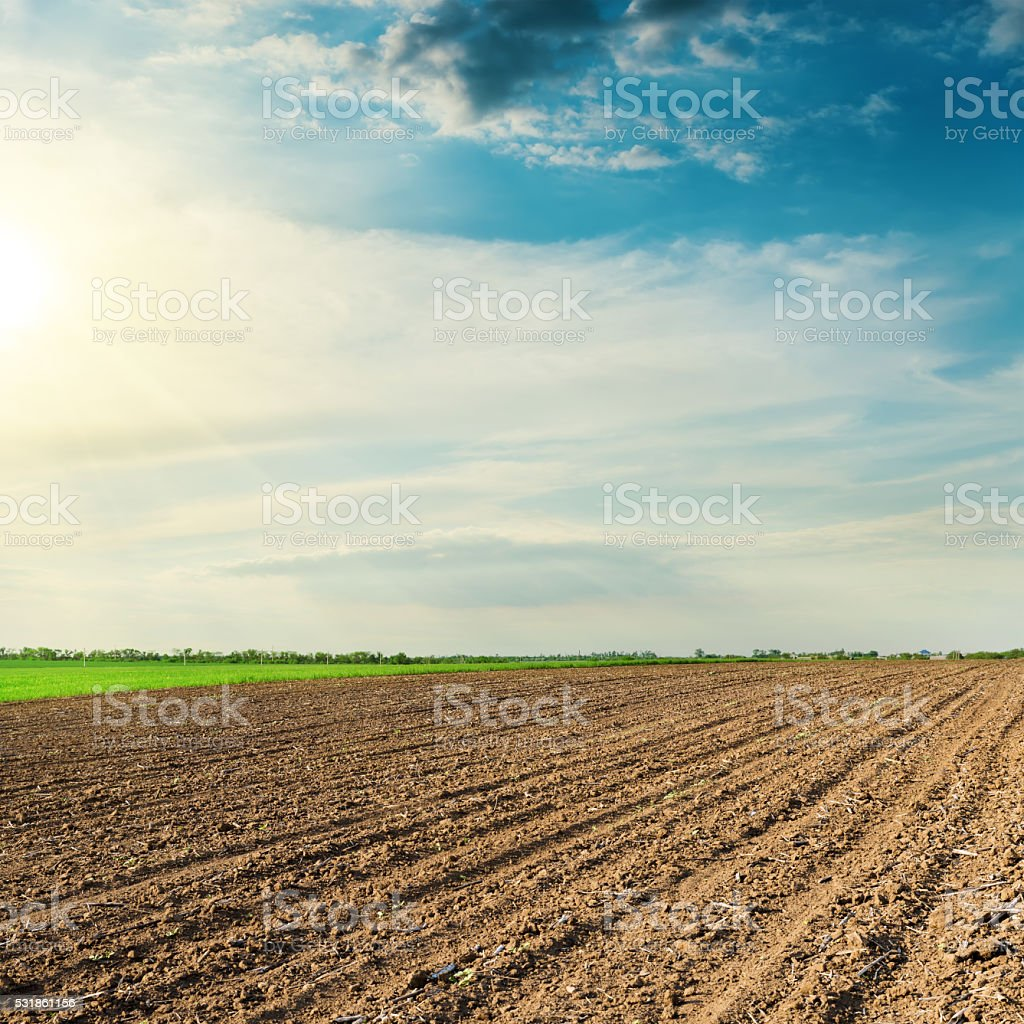 black agriculture field in spring and sunset in clouds stock photo