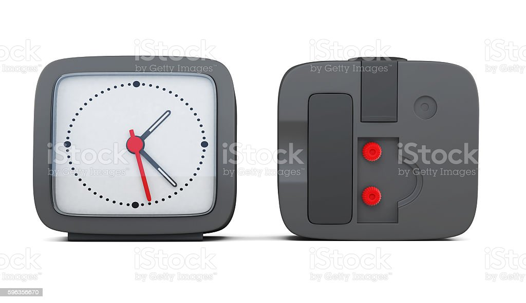 Black alarm clock with the two sides stock photo