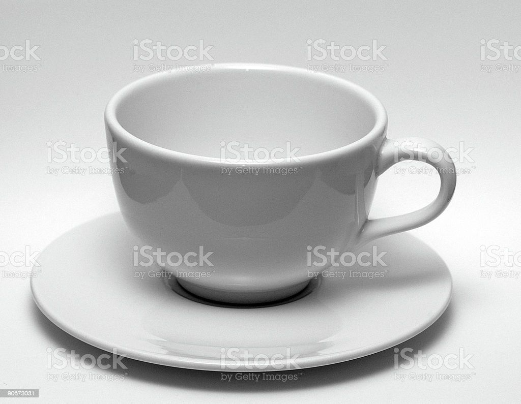 black & white coffee cup with saucer royalty-free stock photo