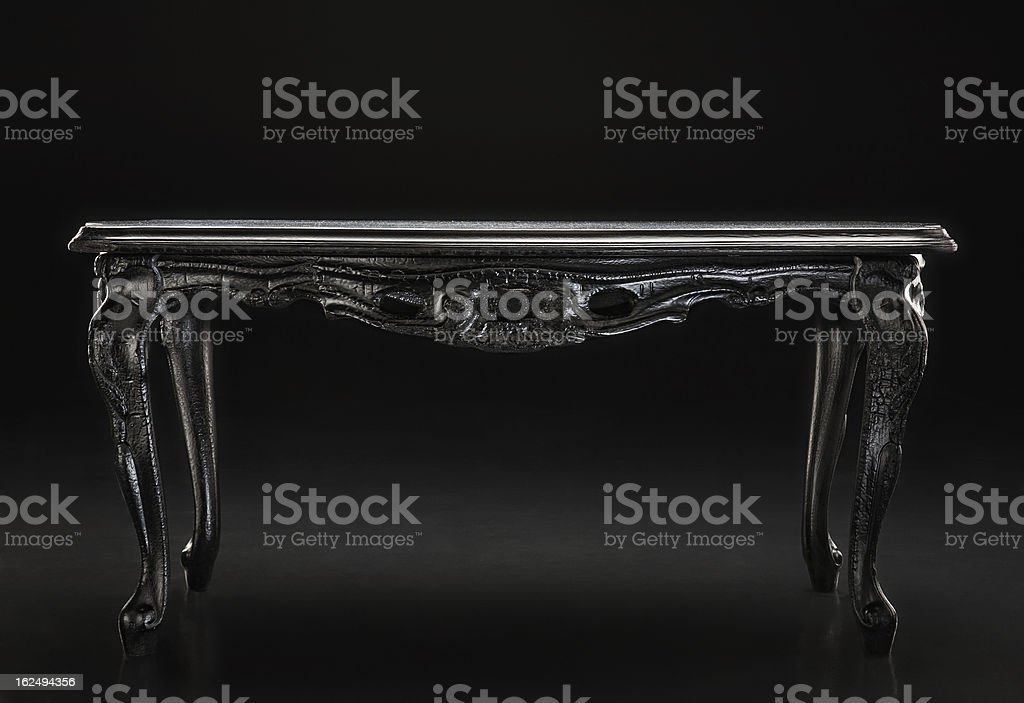 Black, an old table with carved texture royalty-free stock photo