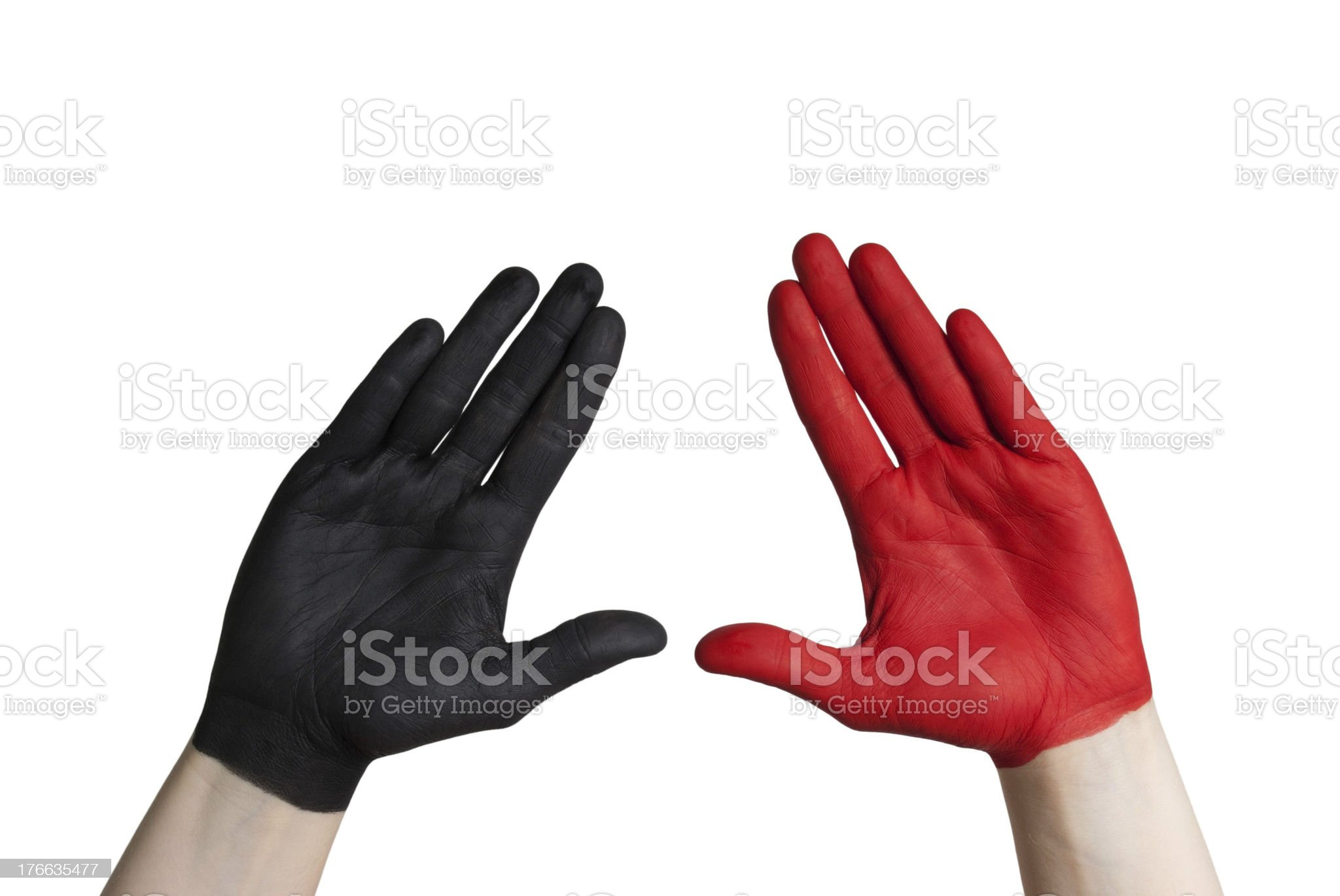 black and a red hand royalty-free stock photo