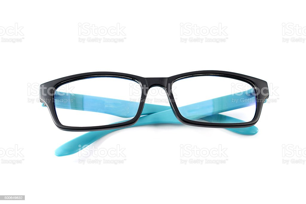 Black and blue eye glass isolated on white royalty-free stock photo