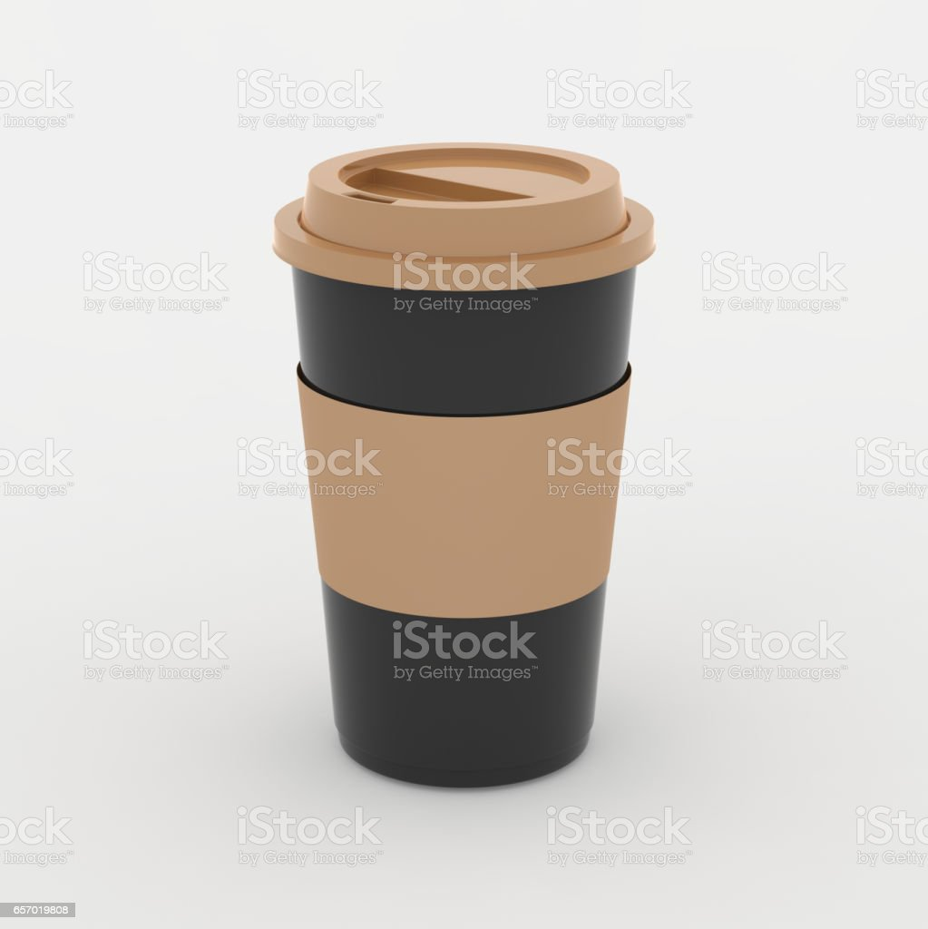Black and brown coffee cup mock up on white background with soft shadows and highlights stock photo