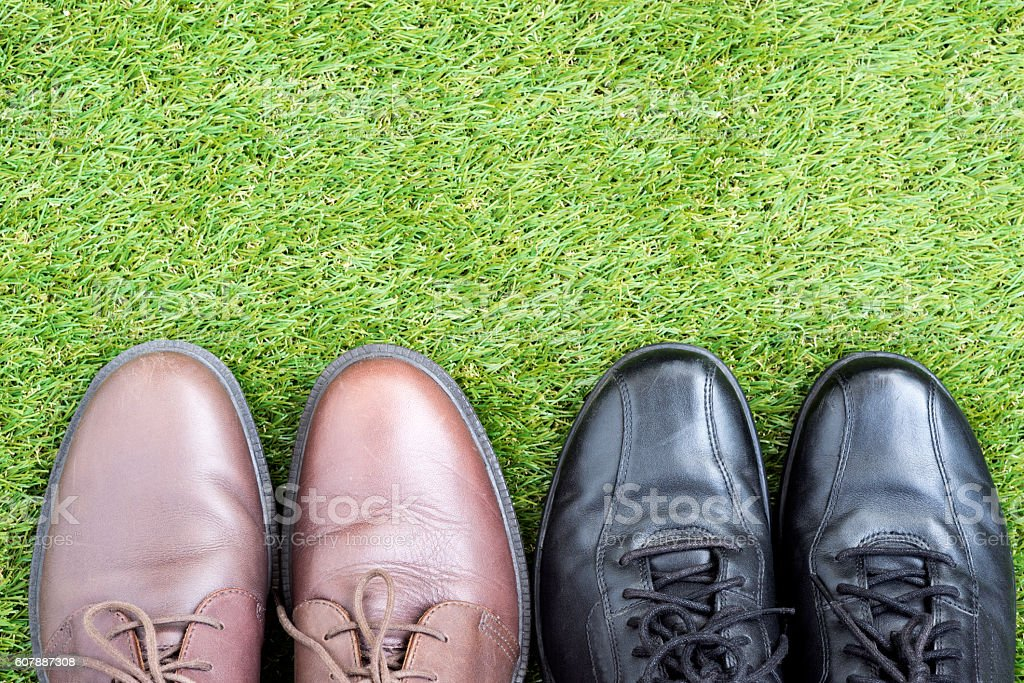 black and brown leather shoes over green grass field stock photo