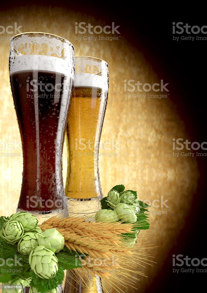 black and classic beer, barley, hops  - 3D render stock photo