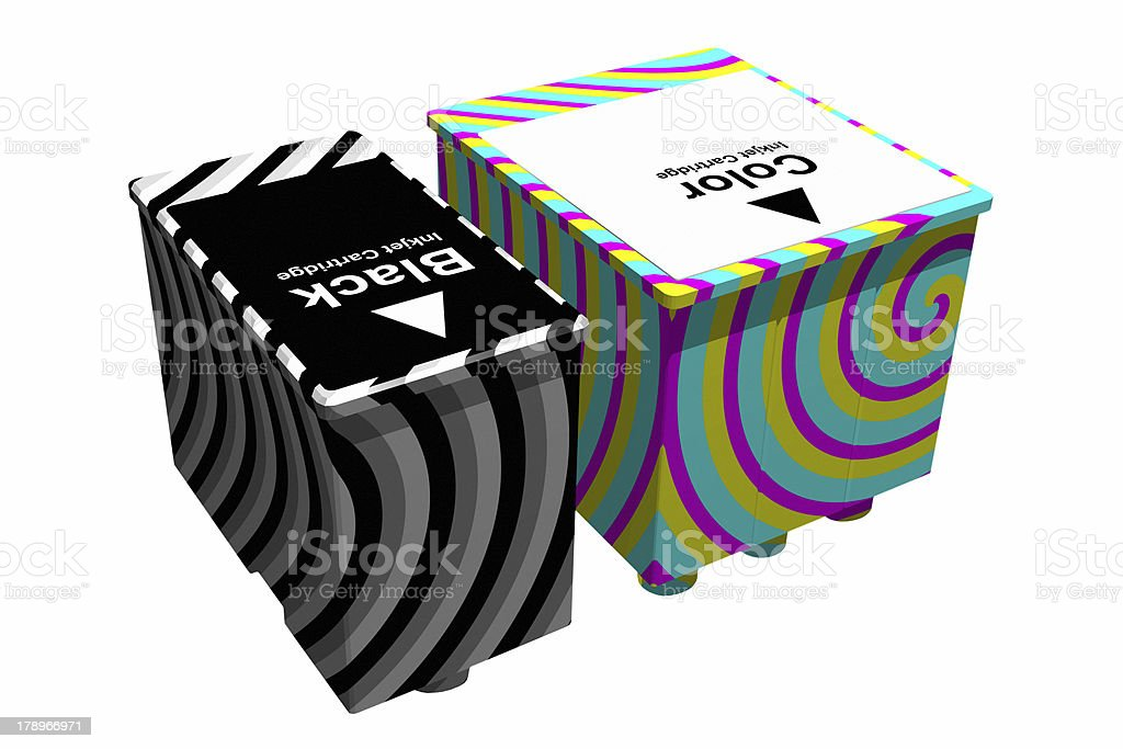 Black and color cartridges (3D) royalty-free stock photo