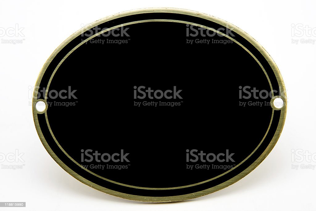 Black and Gold Blank Plaque royalty-free stock photo
