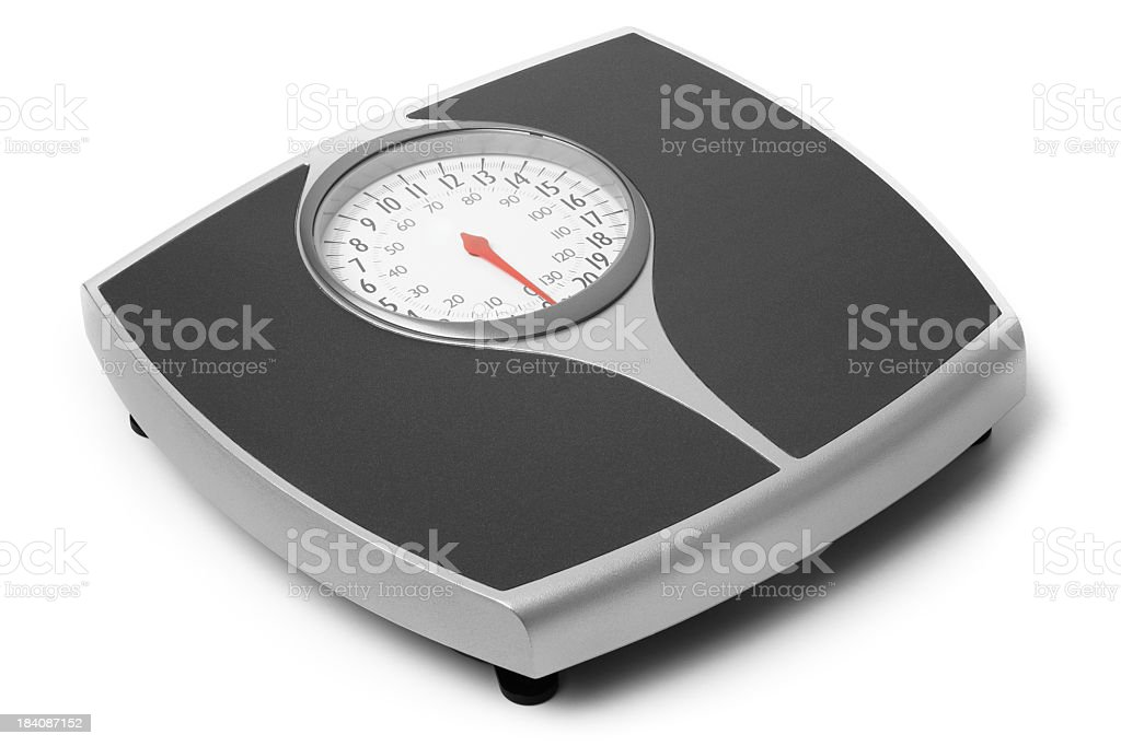 Black and gray bathroom scale on a white background stock photo