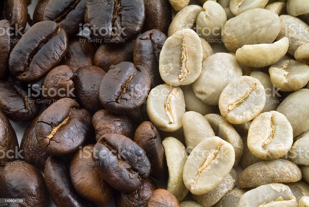 black and green coffee beans stock photo