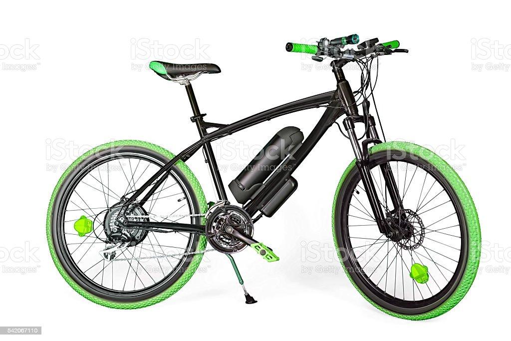 Black and green electric bike stock photo