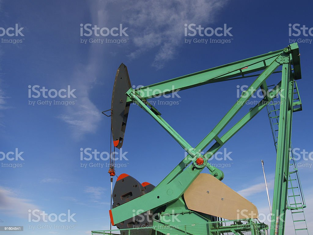 Black and Green Pumpjack royalty-free stock photo