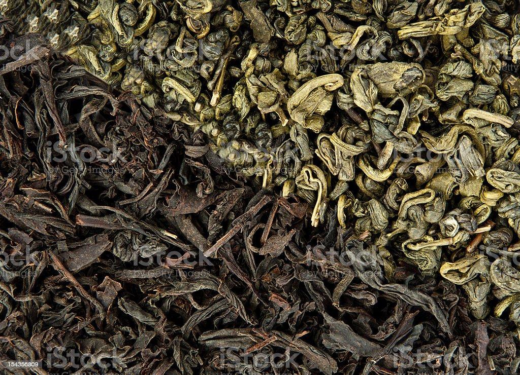 Black and green tea stock photo