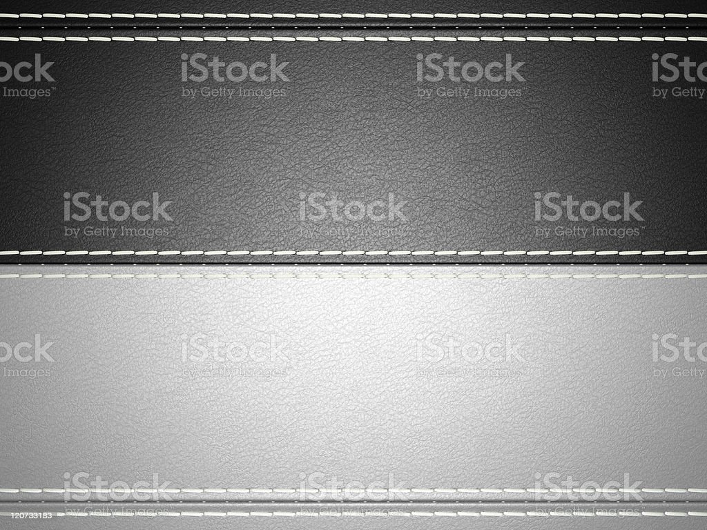 Black and grey horizontal stitched leather background royalty-free stock photo