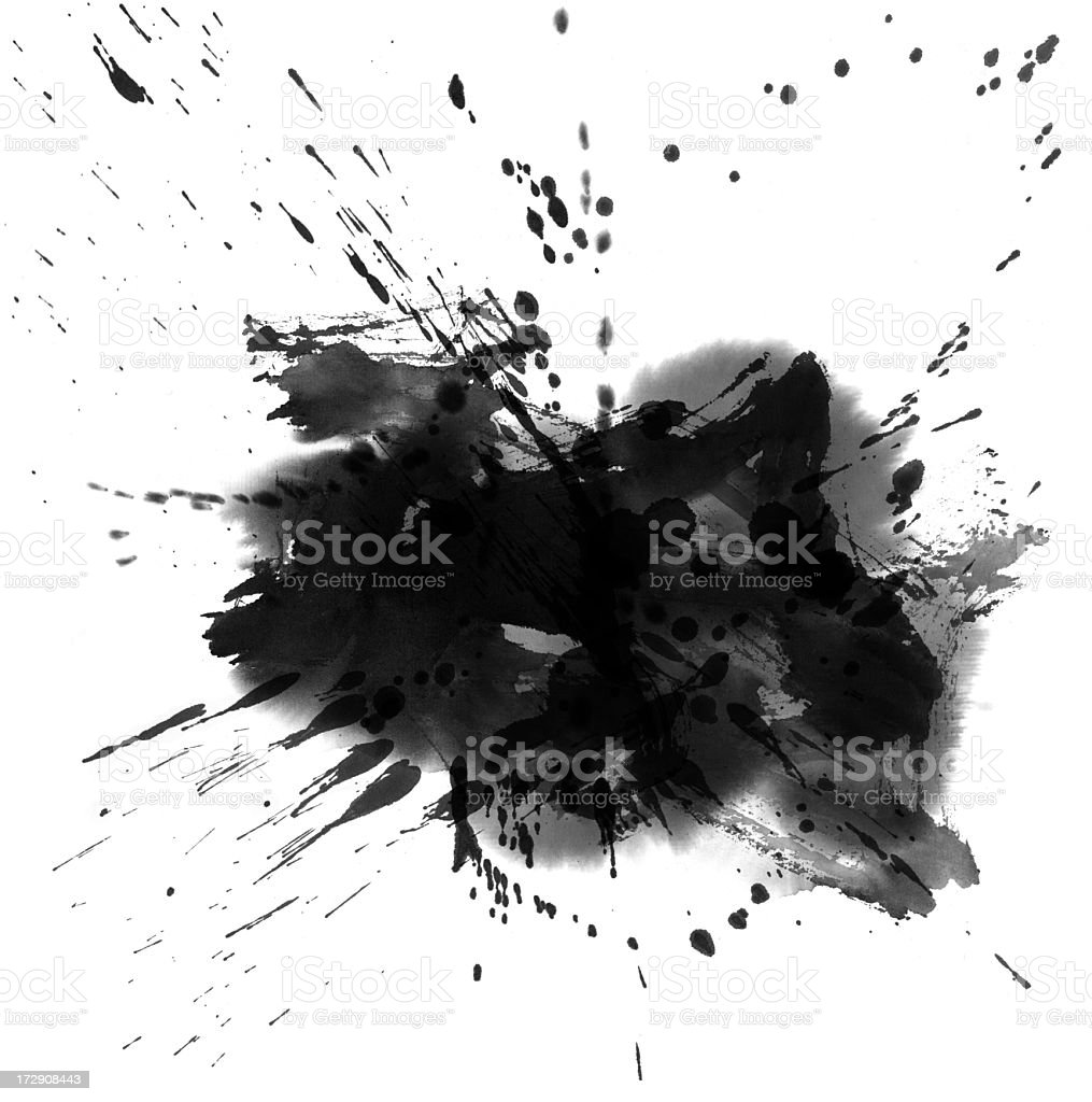 Black and grey wash painting splatter royalty-free stock photo