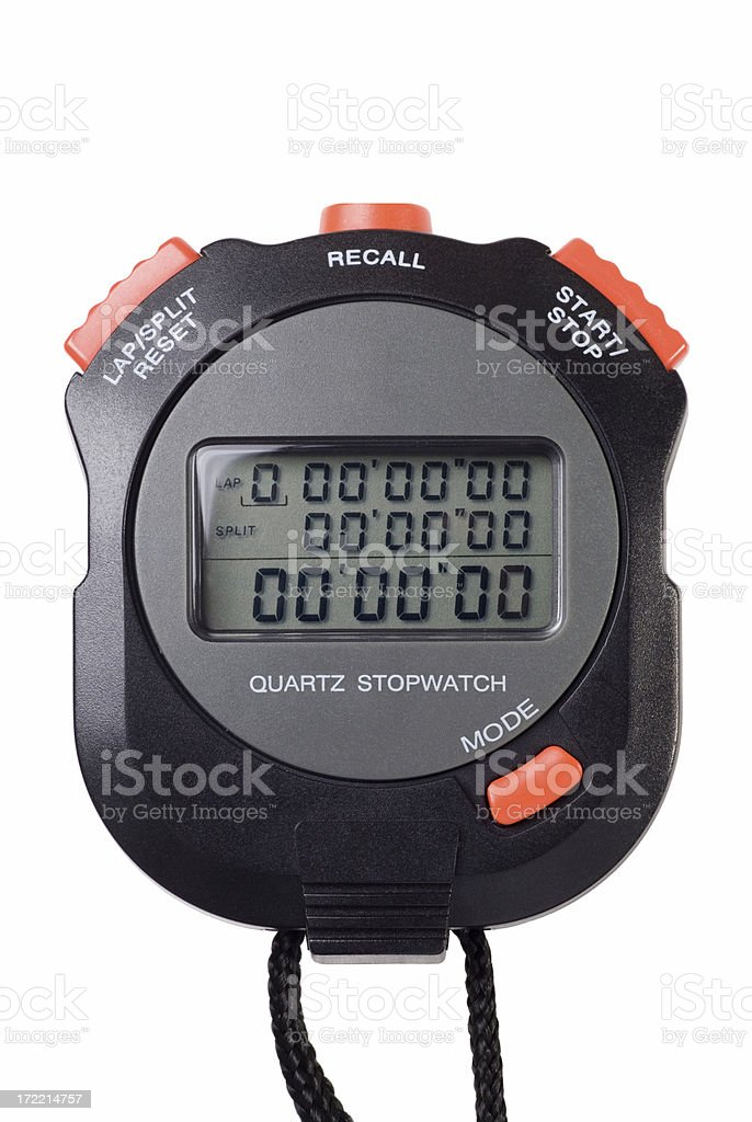 Black and orange digital stopwatch isolated on white royalty-free stock photo