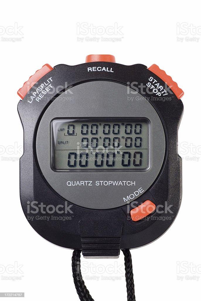 Black and orange digital stopwatch isolated on white stock photo