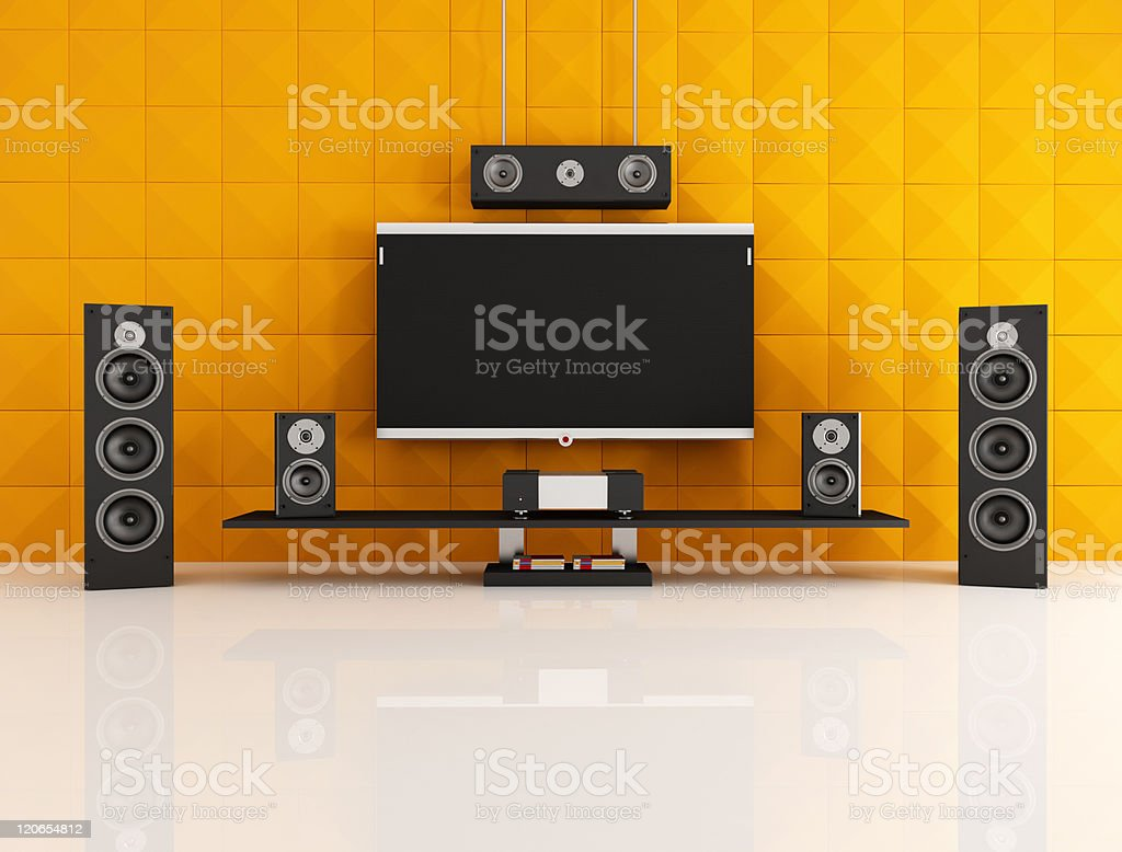 black and orange home theater royalty-free stock photo