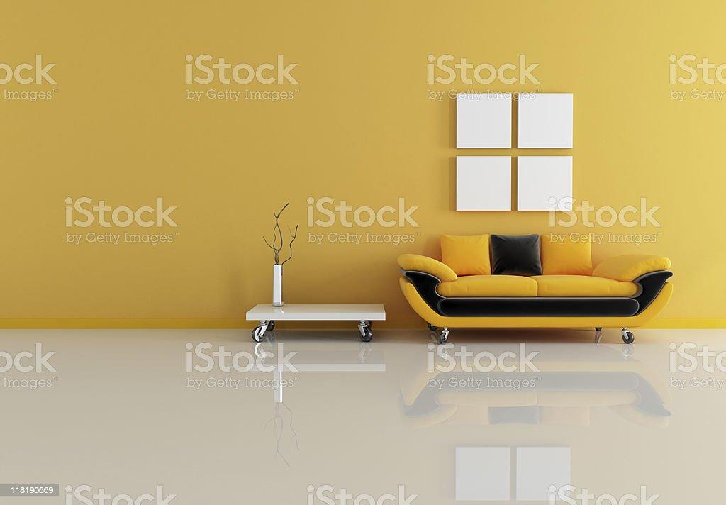 black and orange living room royalty-free stock photo