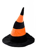 Black and orange witch hat isolated on a white background