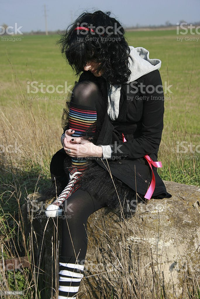 Black and pink emo-girl royalty-free stock photo