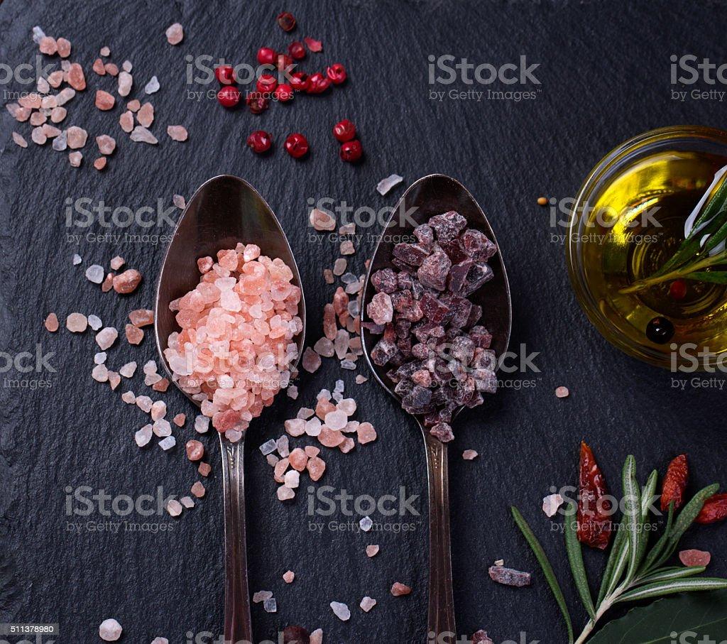 Black and Pink Himalayan salt stock photo