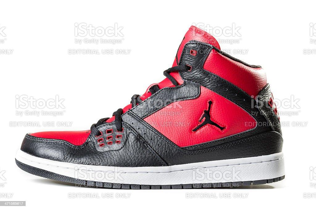 Black and Red Air Jordan Sneaker stock photo