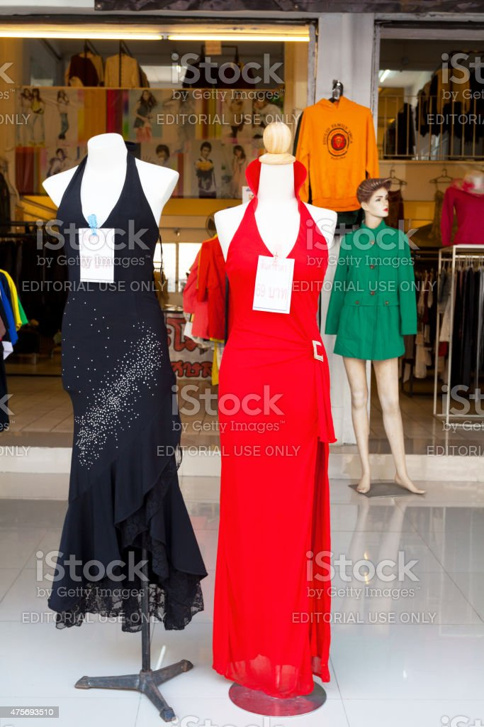 Black and red dress fashion in Bangkok stock photo