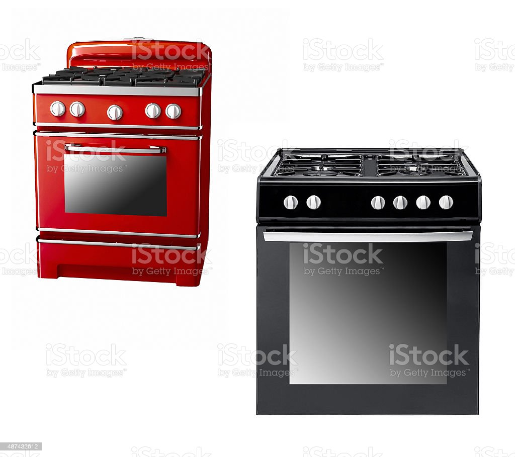 black and red gas cooker stock photo