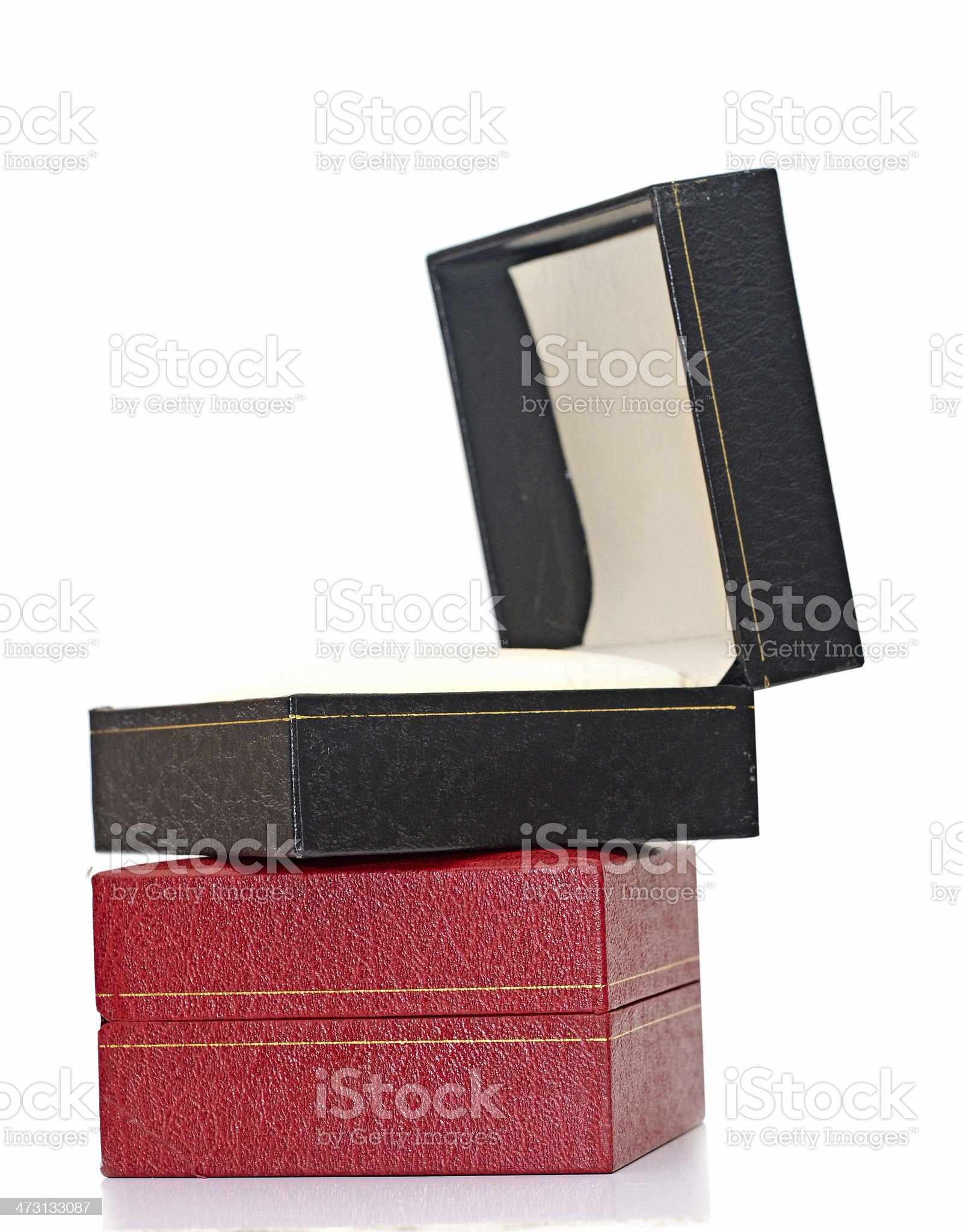 black and red gift boxes over white background. royalty-free stock photo