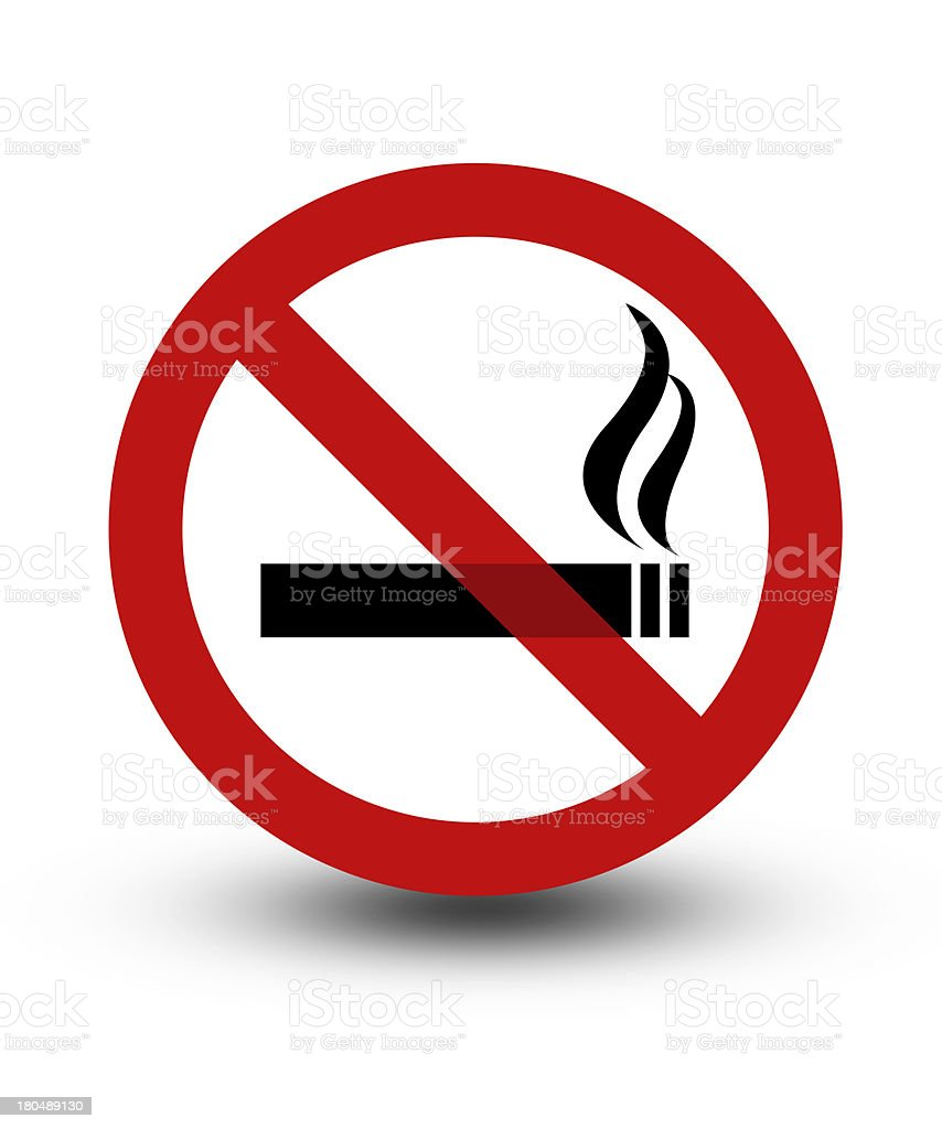 Black and red no smoking sign stock photo