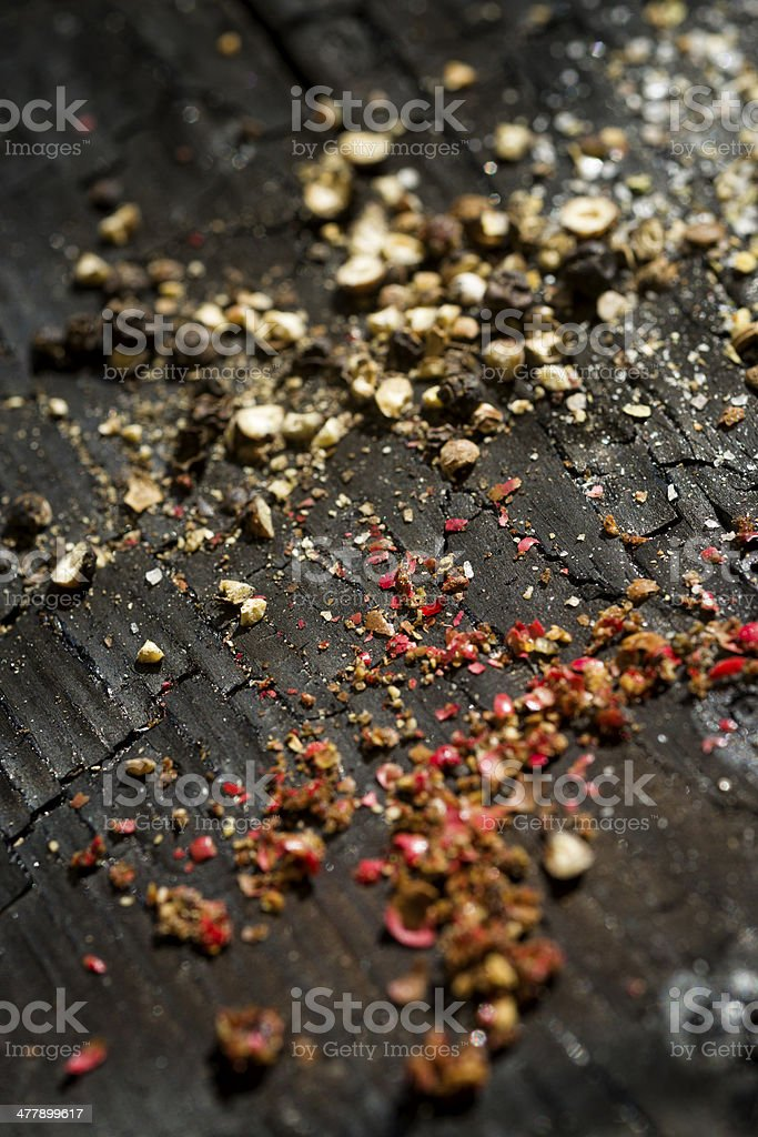 Black and red pepper corn seeds royalty-free stock photo