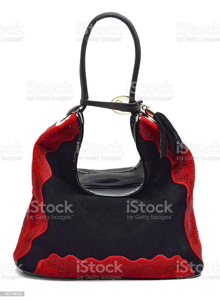 Black and red suede women bag royalty-free stock photo