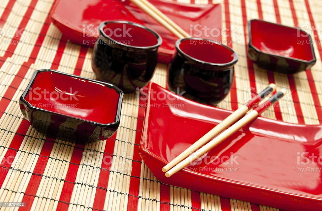 Black and red sushi set royalty-free stock photo