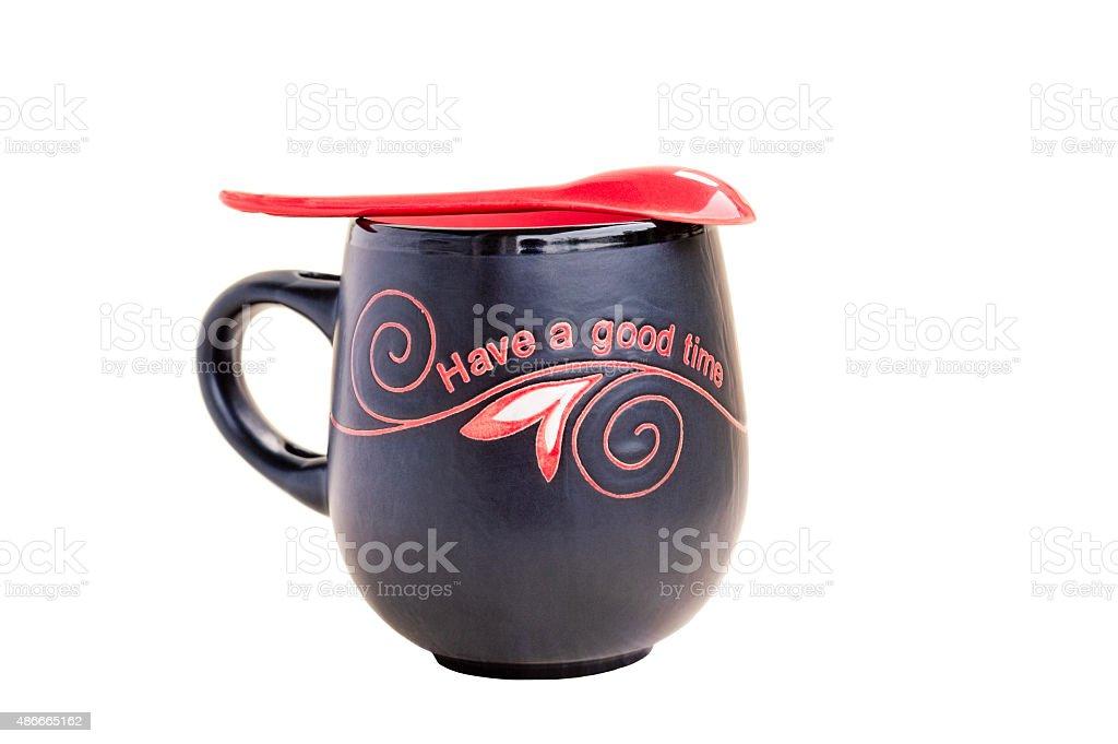 Black and Red Tea Mug stock photo
