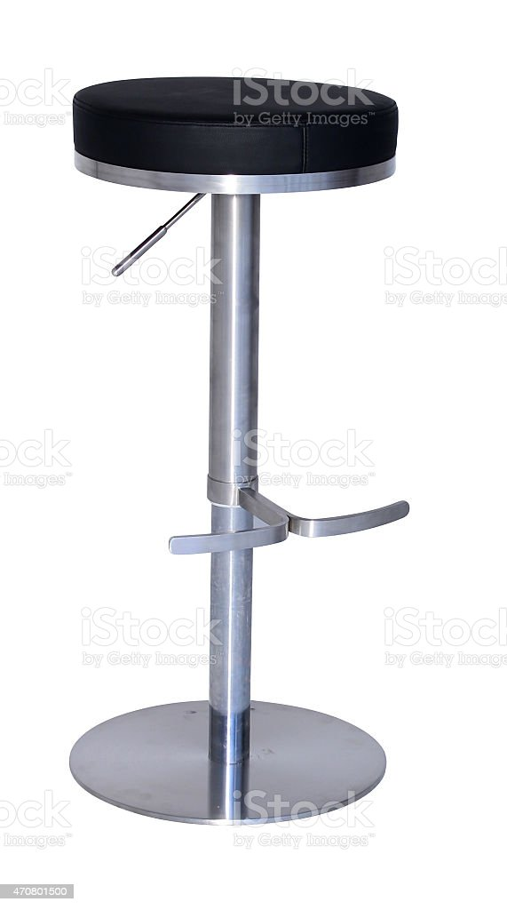 Black and silver bar stool against white background stock photo