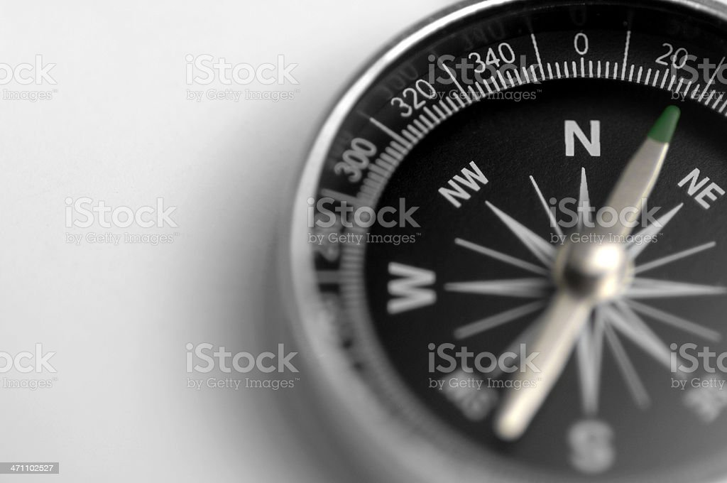 A black and silver compass on a white background stock photo